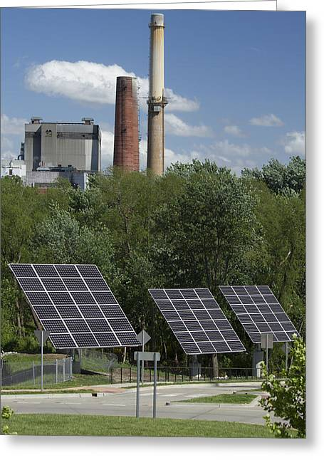 Solar Power Greeting Cards - Solar vs. Coal Energy Greeting Card by Garry McMichael