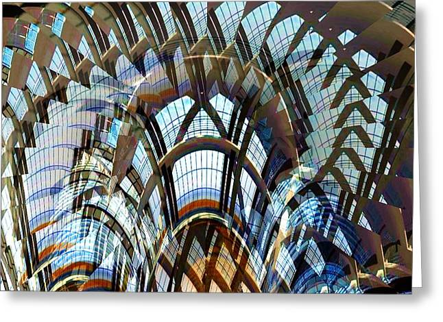 Curtain Wall Greeting Cards - Solarium Greeting Card by Ron Bissett