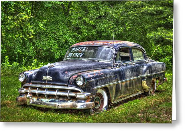 Most Greeting Cards - Sold For Parts 1954 Chevrolet 210 4 Door Sedan Greeting Card by Reid Callaway