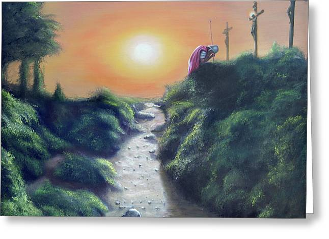 Religious ist Paintings Greeting Cards - Soldier at the Cross Greeting Card by Larry Cole