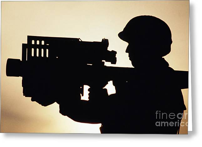 Soldier Holds A Stinger Anti-aircraft Greeting Card by Stocktrek Images