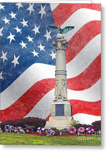 4th July Photographs Greeting Cards - Soldier War Monument Greeting Card by Linda Troski