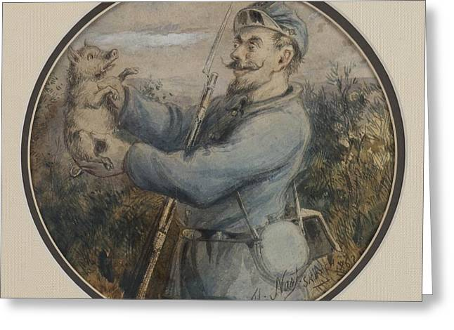 Nast Paintings Greeting Cards - Soldier with a Piglet Greeting Card by Thomas Nast