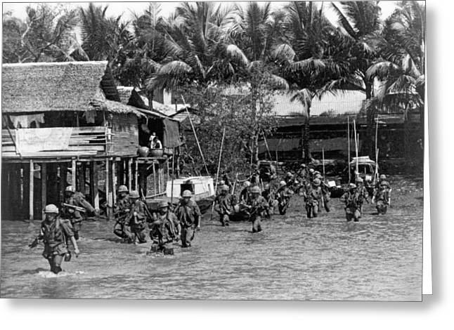 Soldiers In The Mekong Delta Greeting Card by Underwood Archives