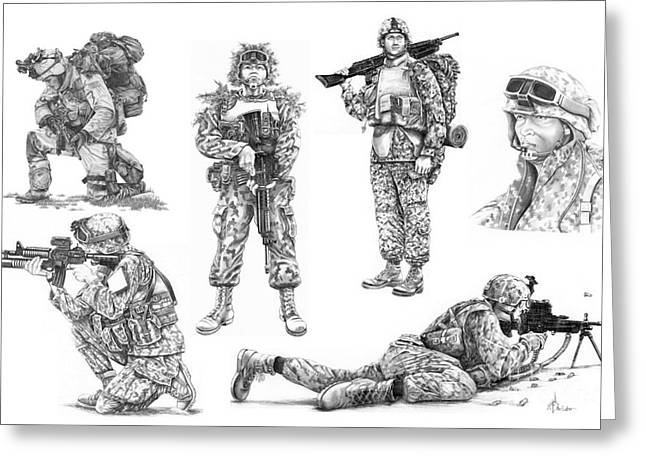 Gi Drawings Greeting Cards - Soldiers Greeting Card by Murphy Elliott