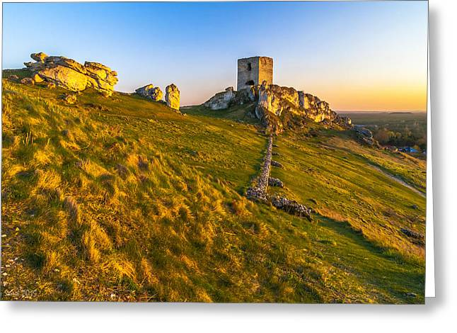 Amazing Sunset Greeting Cards - Sole Castle Tower at Sunset Greeting Card by Julis Simo