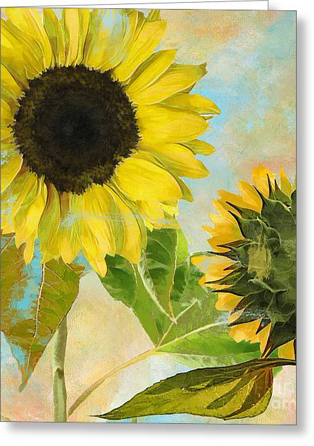 Yellow Sunflower Greeting Cards - Soleil I Sunflower Greeting Card by Mindy Sommers