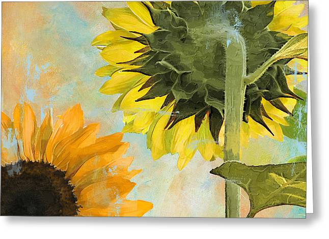 Yellow Sunflower Greeting Cards - Soleil II Sunflower Greeting Card by Mindy Sommers