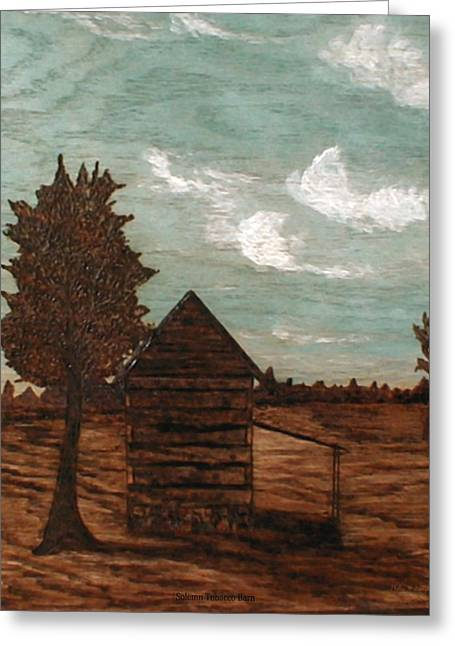 Folk Pyrography Greeting Cards - Solemn Tobacco Barn Greeting Card by Phillip H George