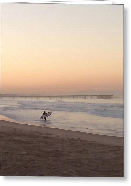 Solitary Surfer Greeting Card by Art Block Collections