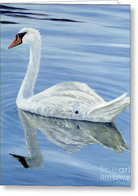 Danielle Perry Greeting Cards - Solitary Swan Greeting Card by Danielle  Perry