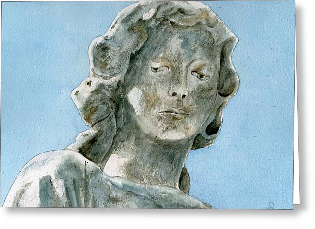 Statue Portrait Paintings Greeting Cards - Solitude. A cemetery statue Greeting Card by Brenda Owen