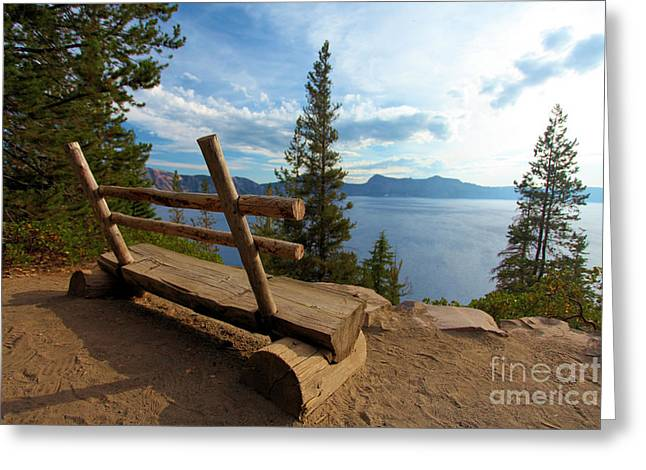 Park Benches Greeting Cards - Solitude At Crater Lake Greeting Card by Adam Jewell