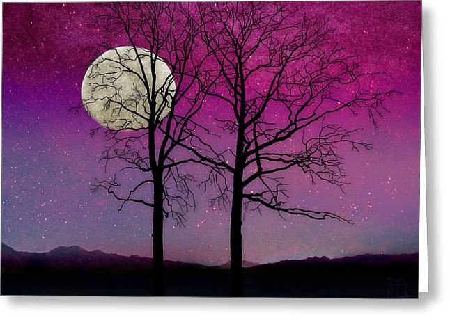 Solitude II Harvest Moon, Pink Opal Sky Stars Greeting Card by Tina Lavoie