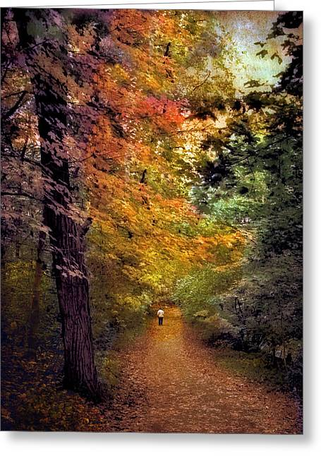 Walk Paths Digital Art Greeting Cards - Solo Promenade Greeting Card by Jessica Jenney