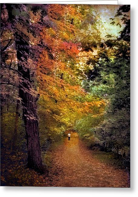 Nature Walk Greeting Cards - Solo Promenade Greeting Card by Jessica Jenney