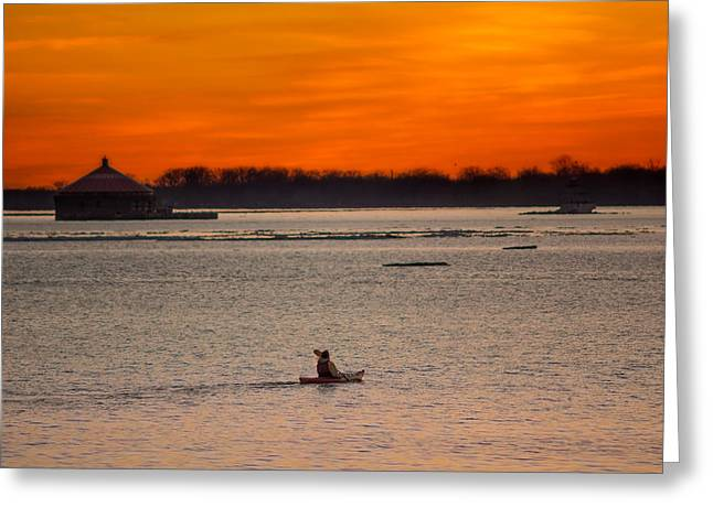 Buffalo Greeting Cards - Solo voyage under a twilight sky Greeting Card by Chris Bordeleau