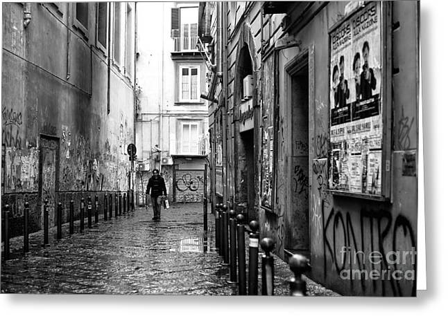 Old Street Greeting Cards - Solo Walk Through Naples Greeting Card by John Rizzuto