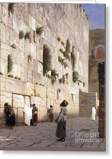 Solomon's Wall, Jerusalem  The Wailing Wall Greeting Card by Jean Leon Gerome