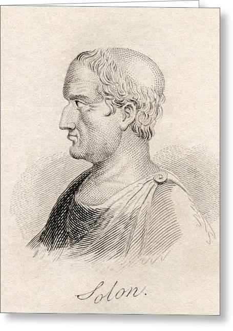 Statesmen Drawings Greeting Cards - Solon 638   558 Bc Athenian Statesman Greeting Card by Ken Welsh