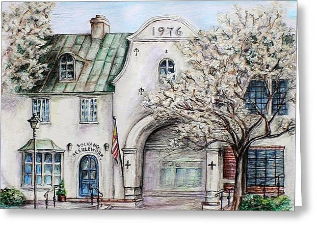 Wooden Building Drawings Greeting Cards - Solvang Spring Greeting Card by Danuta Bennett