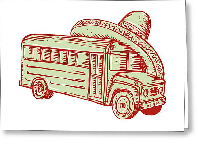 Etching Digital Greeting Cards - Sombrero School Bus Etching Greeting Card by Aloysius Patrimonio