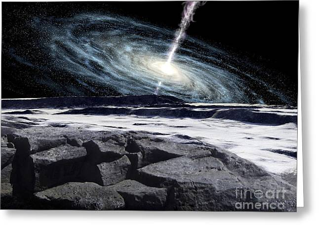 Interstellar Space Digital Art Greeting Cards - Some Galaxies Have Powerfully Active Greeting Card by Ron Miller