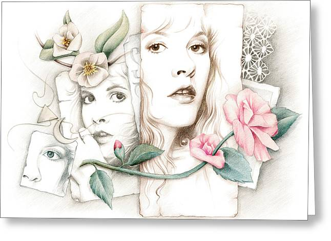 Stevie Nicks Greeting Cards - Some Lace and Paper Flowers Greeting Card by Johanna Pieterman