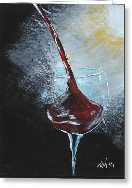Pouring Wine Greeting Cards - Some Red Greeting Card by Russell Halsema