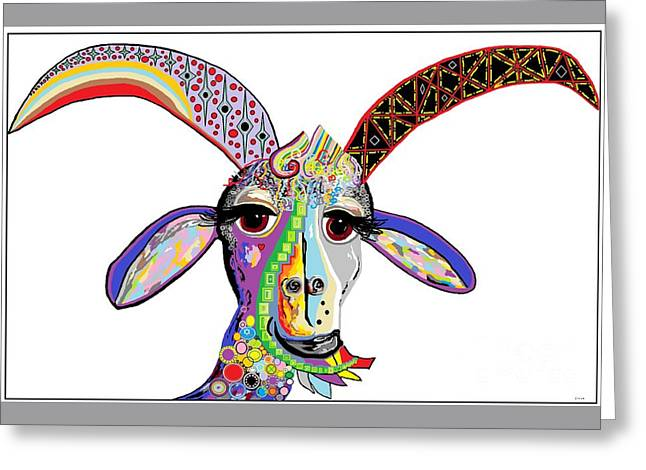 Shower Head Greeting Cards - Somebody Got Your Goat? Greeting Card by Eloise Schneider