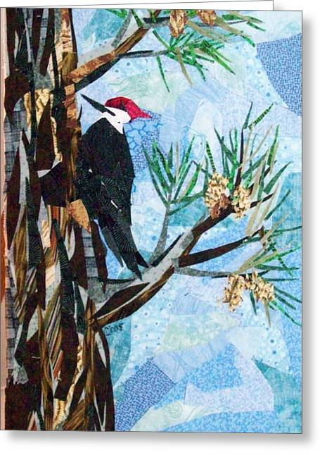 Collage Tapestries - Textiles Greeting Cards - Somebodys Knocking Greeting Card by Charlene White