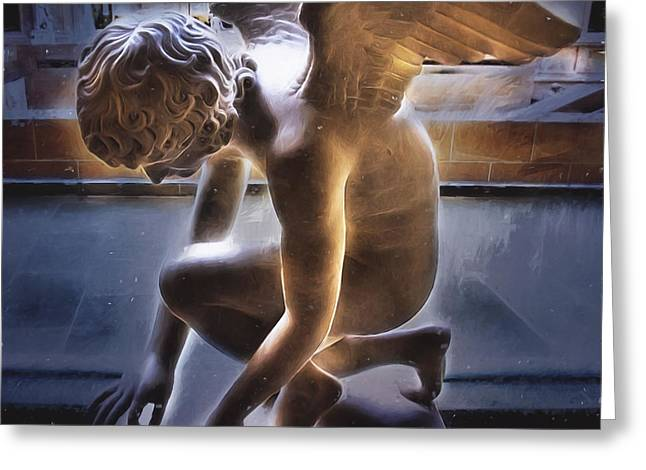Angel Blues Greeting Cards - Someone to Watch Over Me Greeting Card by Evie Carrier