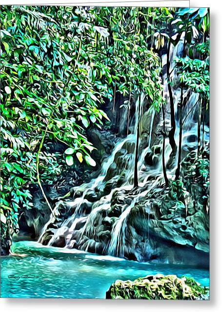 Dripping Vines Greeting Cards - Somerset Falls Greeting Card by Anthony C Chen