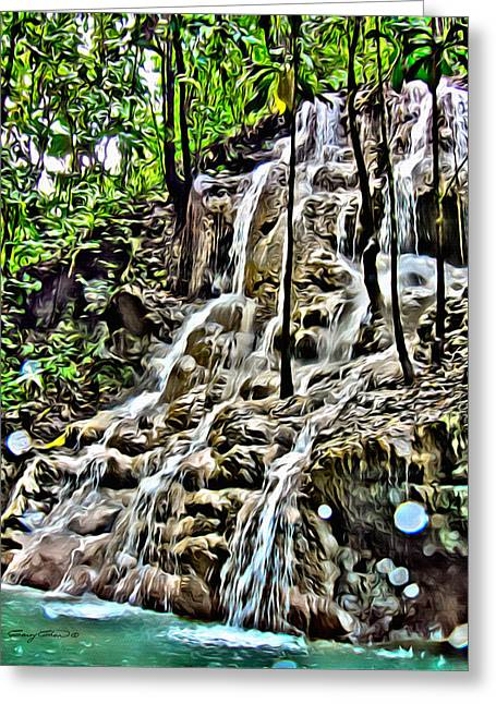 Dripping Vines Greeting Cards - Somerset Falls Portland Greeting Card by Anthony C Chen