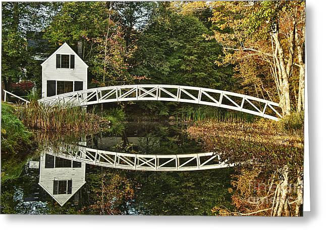 Somesville Maine Greeting Cards - Somesville Footbridge Greeting Card by John Greim
