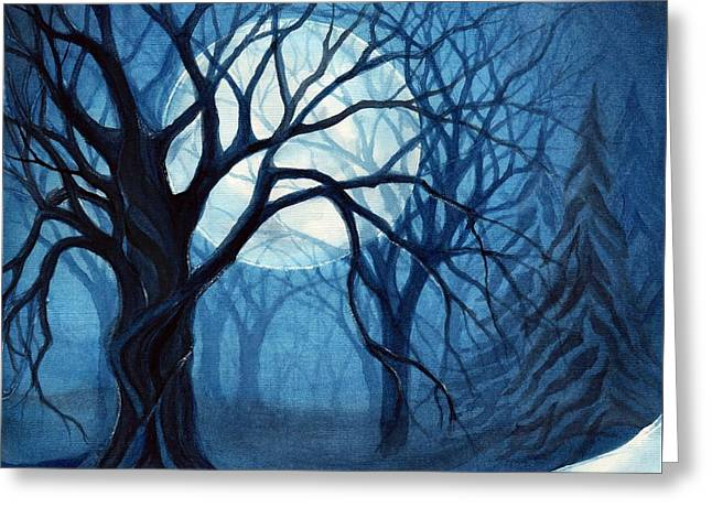 Something In The Air Tonight - Winter Moonlight Forest Greeting Card by Janine Riley