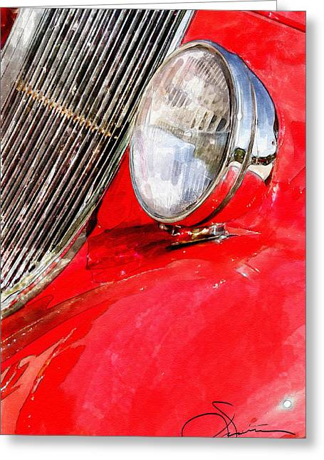 Headlight Greeting Cards - Something Red Greeting Card by Robert Smith