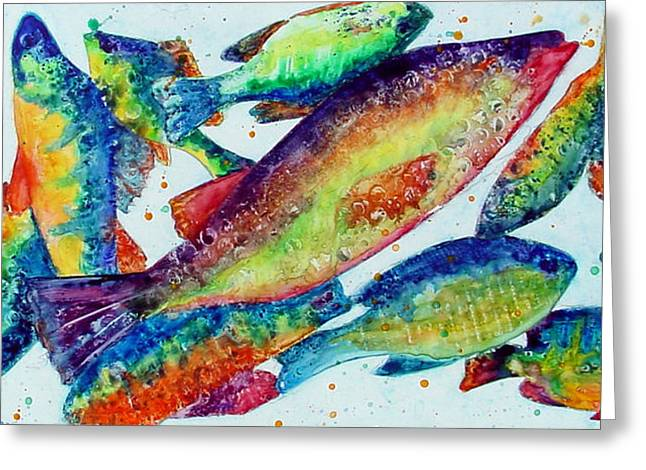 Recently Sold -  - Rainbow Trout Greeting Cards - Somethings Fishy Greeting Card by Marsha Elliott