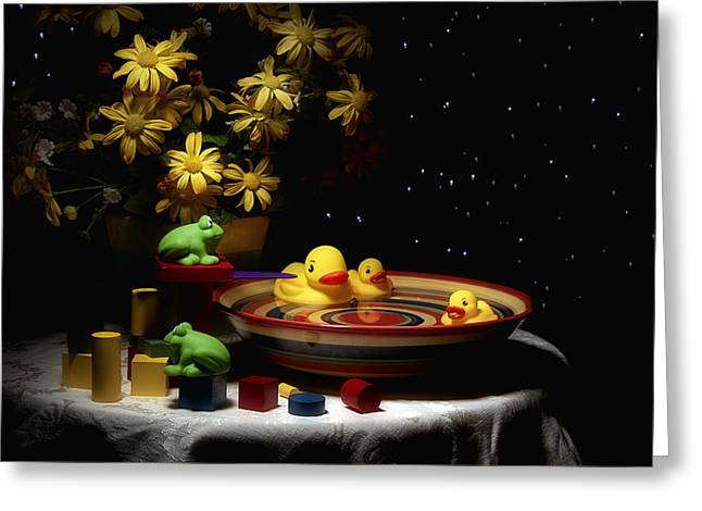 Rubber Ducky Greeting Cards - Sometimes Late at Night Greeting Card by Tom Mc Nemar