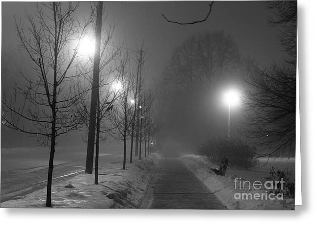 Winter Night Greeting Cards - Sometimes winter stays a long time Greeting Card by David Bearden