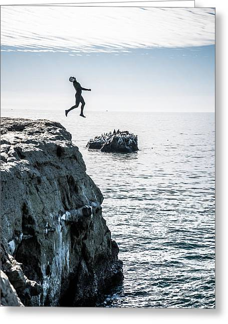 Santa Cruz Surfing Greeting Cards - Sometimes you gotta leap Greeting Card by Cody Young