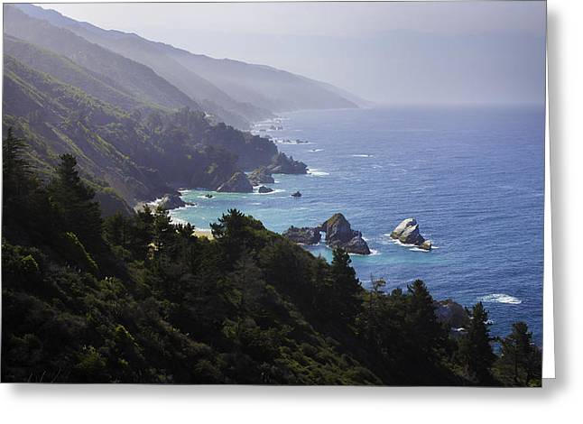 Big Sur Beach Greeting Cards - Somewhere Between Big Sur and Cambria Greeting Card by Steve LLamb