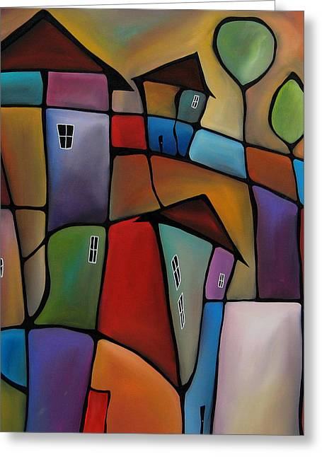 Somewhere Else - Abstract Pop Art By Fidostudio Greeting Card by Tom Fedro - Fidostudio