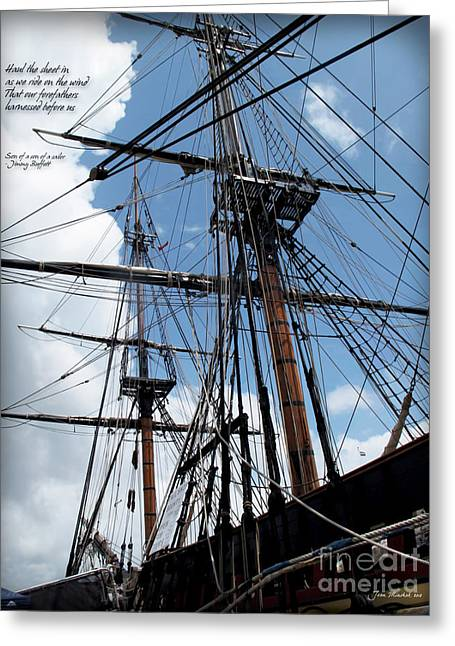 Recently Sold -  - Pirate Ships Greeting Cards - Son of a Son of a Sailor Quote - Tribute To The Bounty Greeting Card by Joan  Minchak
