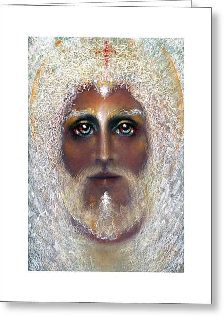 Jesus Pastels Greeting Cards - SON OF GOD  Pastel Eikons of Christ Greeting Card by Vicki Thomas