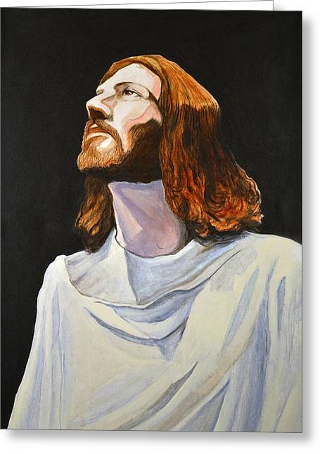 Religious Paintings Greeting Cards - Son of Man Greeting Card by Michael Nagel