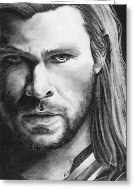 Thor Drawings Greeting Cards - Son of Odin Greeting Card by Amanda Shanks