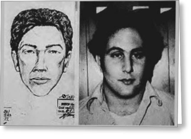 Son Of Sam David Berkowitz Mug Shot And Police Sketch Greeting Card by Tony Rubino