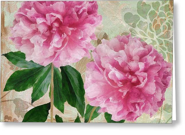 Pinks And Purple Petals Greeting Cards - Sonata Pink Peony i Greeting Card by Mindy Sommers