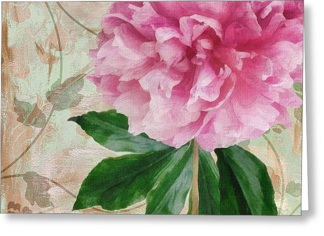 Pinks And Purple Petals Greeting Cards - Sonata Pink Peony II Greeting Card by Mindy Sommers